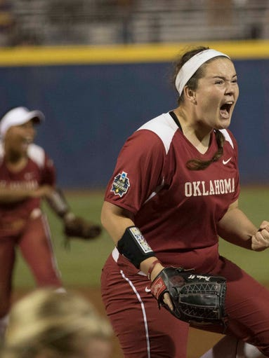 Oklahoma pitcher Paige Parker reacts after the final