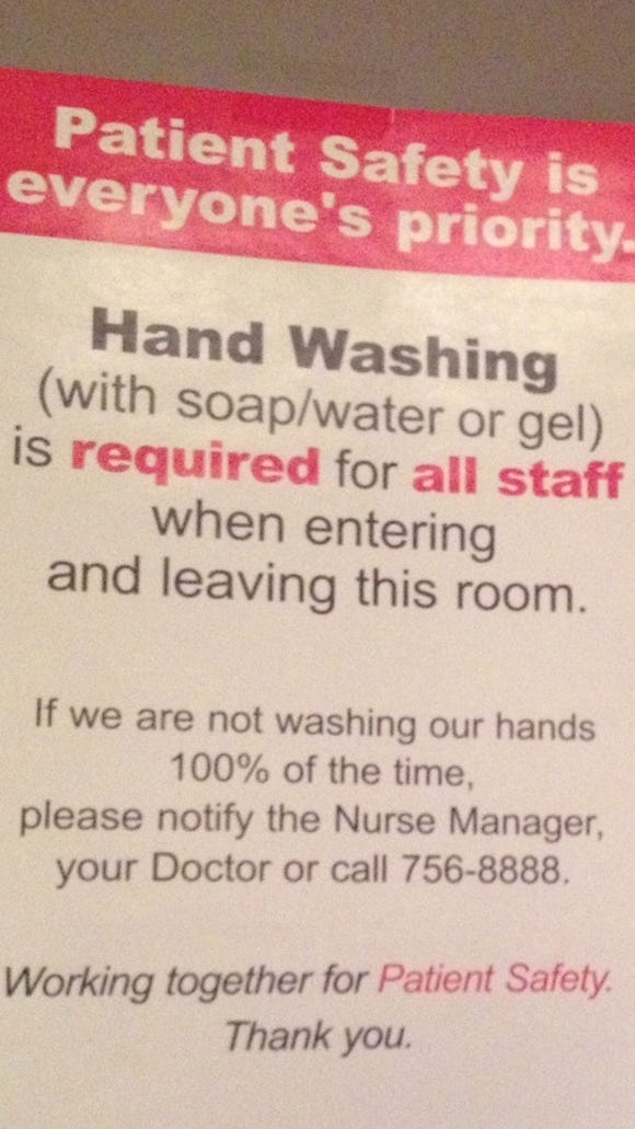 Any provider entering this room is supposed to wash