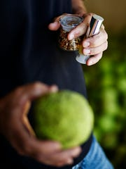 Todd Johnson, 51, holds a hedge ball in one hand and