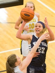 West York's Olivia Sollberger, of Team 2, drives to the basket. Team 1 defeats Team 2 56-55 as area players compete in the YAIAA girls' basketball senior all-star game at Red Lion High School, Sunday, March 20, 2016.