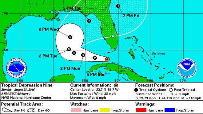 As of 11 p.m. Sunday, Tropical Storm 9 had maximum sustained winds of 35 mph and was located 100 miles southwest of Key West.