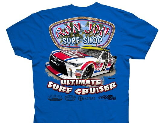 One of the T-shirts being sold in Ron Jon Surf Shop.