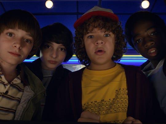 Noah Schnapp as Will, Finn Wolfhard as Mike, Gaten Matarazzo as Dustin and  Caleb McLaughlin as Lucas on 'Stranger Things.'