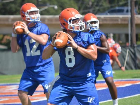 Louisiana College's Easton Melancon practices with the team.