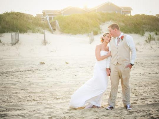 Andrea and Matthew were married on the beach in Nags Head, N.C.