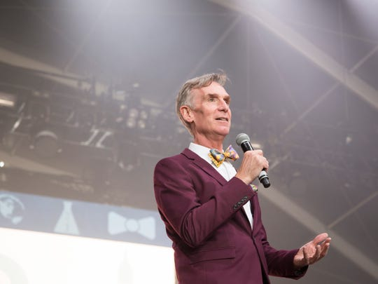 Bill Nye speaks at Life is Beautiful on Friday, Sept. 22, 2017.