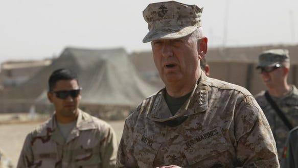 Retired Marine general James Mattis in Afghanistan