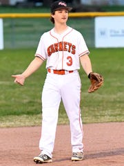South Gibson's Trey Sherrill reacts after a play during Monday's game against Dyersburg.