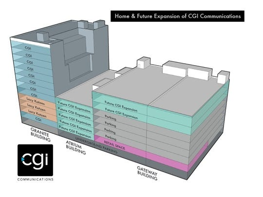 The graphic shows CGI's existing location in the Granite Building at the corner of St. Paul and East Main, and its planned expansion eastward into Gateway Centre.