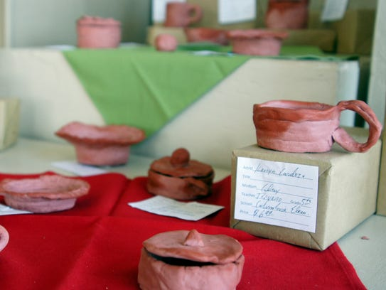 Columbus Elementary School students contributed clay