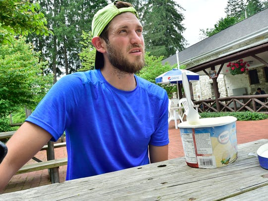 Lance Ness, 31, Windsor Township in York County, took the Half Gallon Ice Cream Challenge Friday, June 1, 2018 at Pine Grove Furnace General Store. He finished the ice cream in one hour one minute.Ness gave up a six-figure sales job in Houston to return home and find a new path in life. He's hiking the entire Appalachian Trail from Springer Mountain in Georgia to Mount Khatadin in Maine.