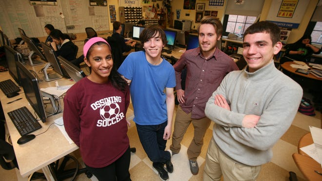 Five seniors from Ossining High School were named Intel science contest semifinalists. Pictured in the science research room at the school Wednesday are, from left, Brinda Ramesh, David Leibert, Charles Gulian and Aaron Spring. Not pictured is Juliet Ivanov.