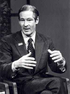 Stephen May during a debate with Jack Perry, when May attempted to unseat the incumbent state senator in 1980.