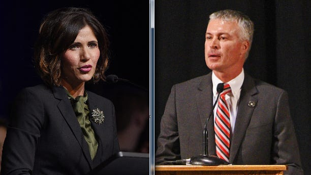 Rep. Kristi Noem, left, and Attorney General Marty Jackley, right, are running for governor.