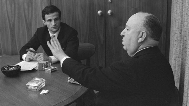 Filmmakers François Truffaut, left, and Alfred Hitchcock in 1962.