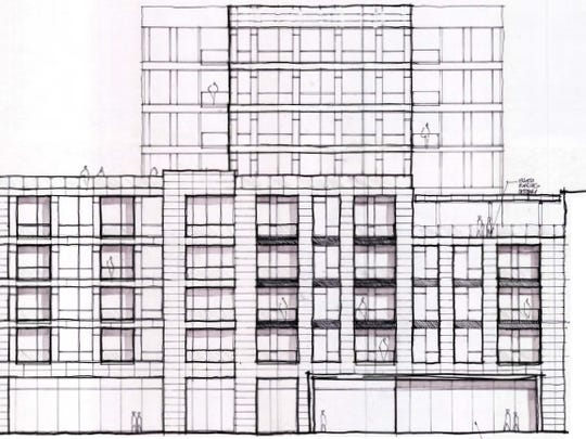 The rendering of the mixed-use condo that the Knoxville City Council approved a TIF for in January.