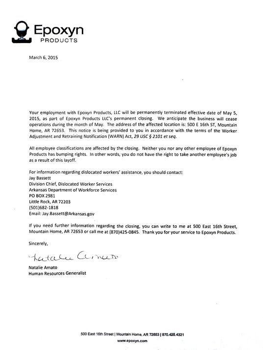 Termination Letter Due To Restructuring Sample