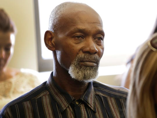 Edward Carter spent 35 years in prison for sexual assault and armed robbery. He was wrongfully imprisoned for crime and will receive $1.7 million. He is photographed on Wed., Aug. 16, 2017 in court in Detroit.