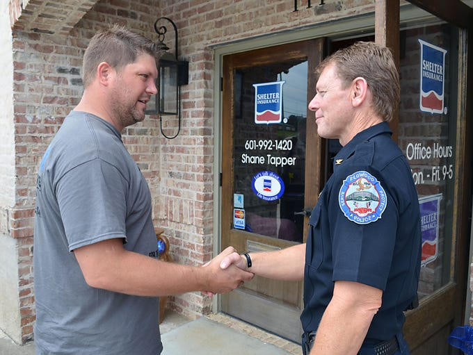 Shane Tapper thanks Flowood Police Capt. Richie McCluskey