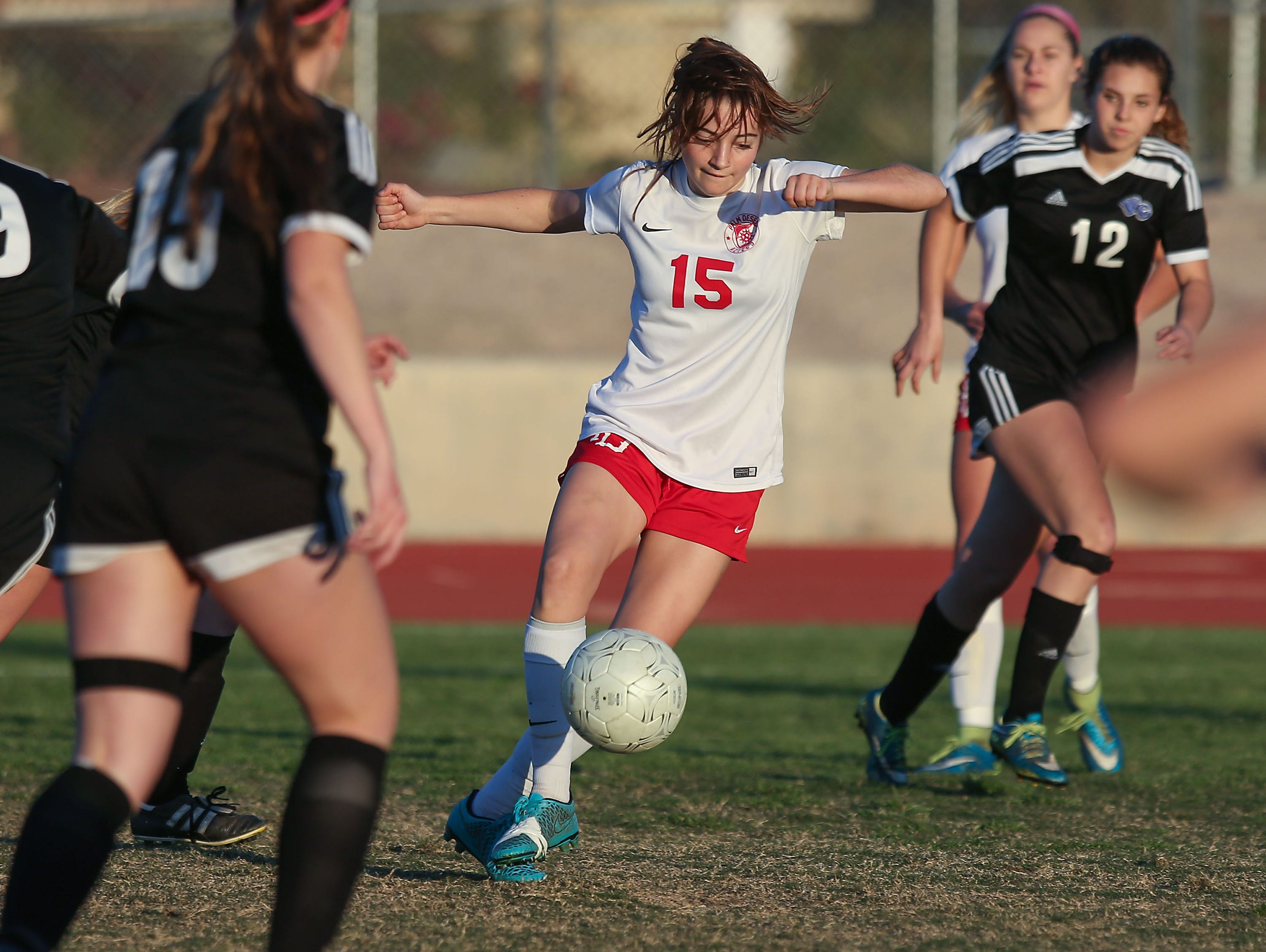 Malia Falk handles the ball for Palm Desert during their CIF quarterfinal victory over Western Christian, February 24, 2017.