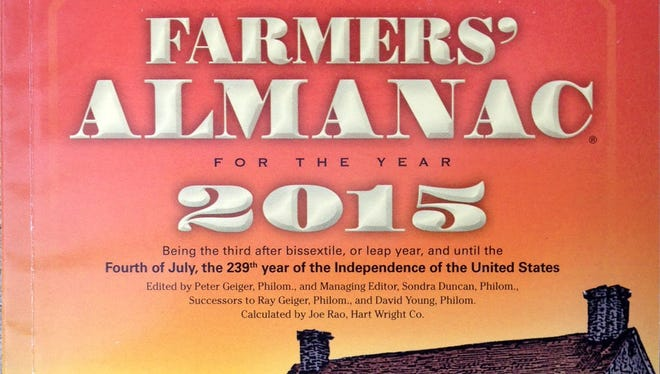 """The 2015 edition of the Farmers' Almanac is seen in Lewiston, Maine, Sunday, Aug. 24, 2014. The 198-year-old publication correctly predicted the past nasty winter while federal forecasters blew it. Memories of the notorious """"polar vortex"""" won't soon be forgotten, and the publication is predicting more of the same for the coming winter."""