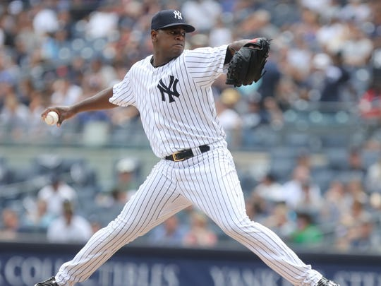 NY Yankee pitcher Luis Severino in the first inning.