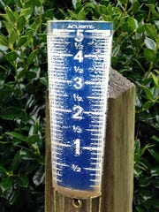 A nearly overflowing rain gauge in Patrick County, VA.