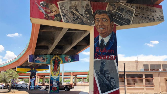 An image of the late Chicano journalist Ruben Salazar adjacent to the former Lincoln Center building in South-Central El Paso.