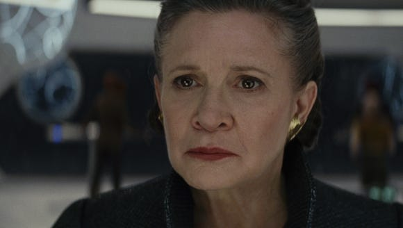 General Leia Organa (Carrie Fisher) is coping with the loss of Han Solo in 'Star Wars: The Last Jedi.'