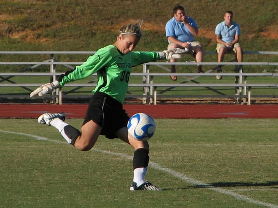 UWF women's soccer player Courtney Jones (2006-09) kicks the ball during a match from her Argo playing days. Jones is one of seven individuals being inducted into the UWF Athletics Hall of Fame tonight.