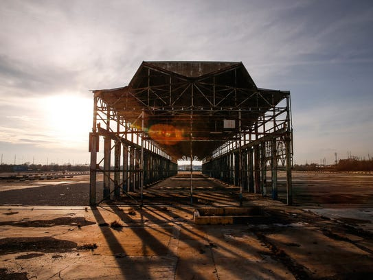 The former General Motors stamping plant was demolished, leaving only an Albert Kahn-designed crane bay at the site.