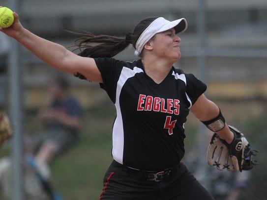 NFC senior Katelyn Wood pitches against Florida High.