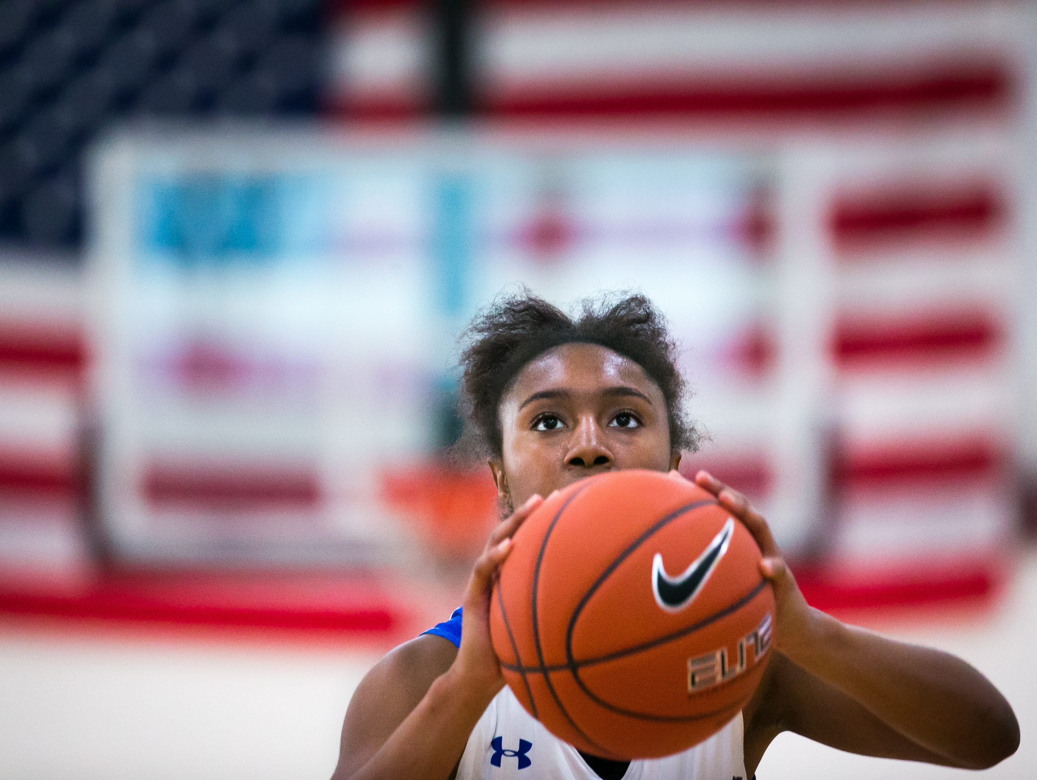 Howard guard Na'Leigha Wright shoots a foul shot against William Penn at the Diamond State Classic. Wright and the Wildcats will host their own girls basketball event - the Howard MLK Showcase - next Monday.