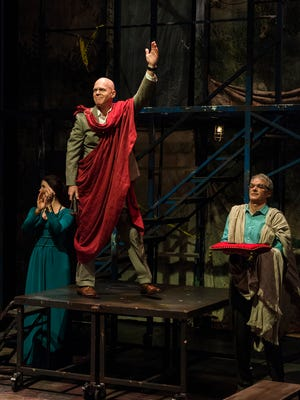 "Rosie Ward plays Calphurnia, Paul Sandberg plays Julius Caesar and Andrew May plays Casca in the Utah Shakespeare Festival's 2016 production of ""Julius Caesar."""