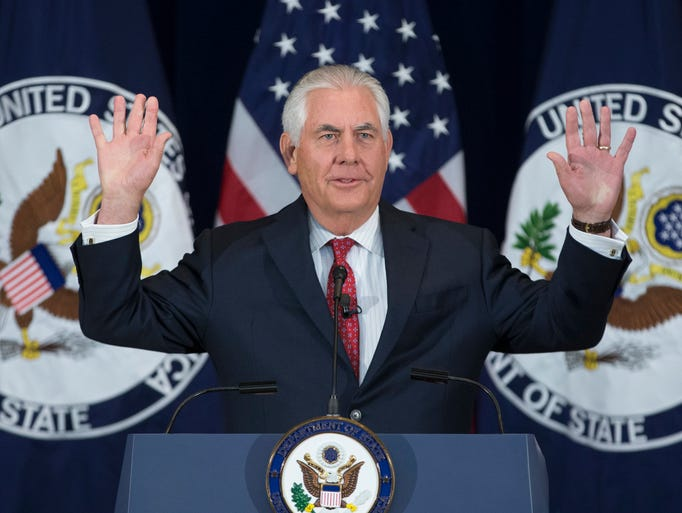 Secretary of State Rex Tillerson delivers an address