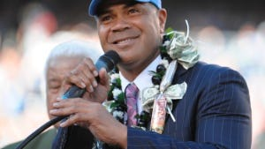 San Diego Chargers former player Junior Seau during his induction into the San Diego Chargers Hall of Fame.