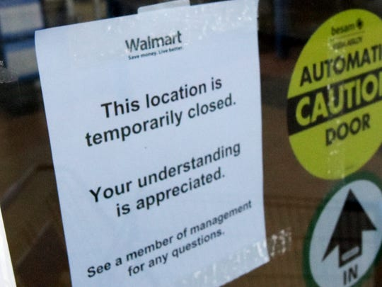 The Walmart in Shrewsbury was closed Friday, April 8, 2016, after a state trooper shot an alleged armed robber inside the store the night before. Bill Kalina photo