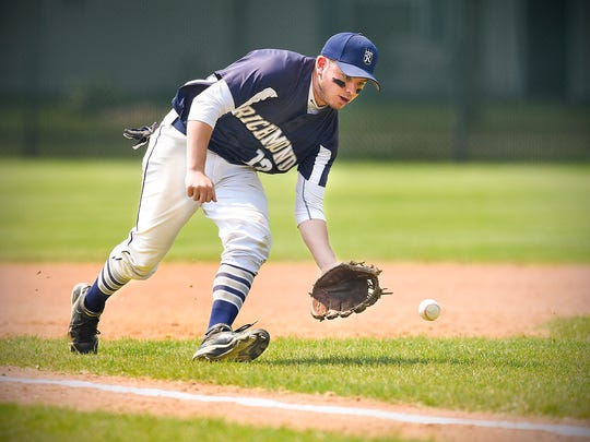 Richmond's Kyle Bunde scoops up a ground ball and make