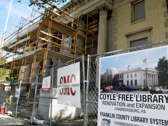 County Commissioners seek two grants to help with the Coyle Free Library renovation and expansion project, seen Friday, October 7, 2016.