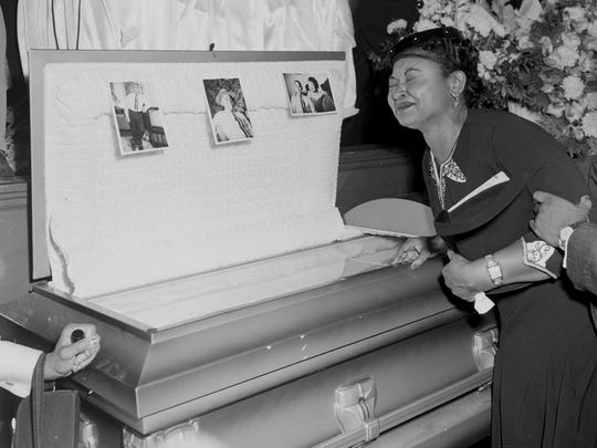 In this 1955 file photo, Mamie Mobley pauses at her