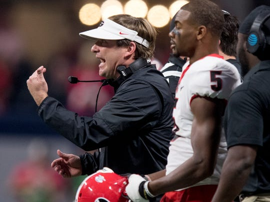 Georgia head coach Kirby Smart against Auburn in first half action of the SEC Championship Game at Mercedes-Benz Stadium in Atlanta, Ga. on Saturday December 2, 2017. (Mickey Welsh / Montgomery Advertiser)