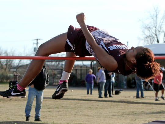 Seymour's Remie Haynes makes her attempt in the high