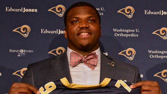 Greg Robinson is introduced by St. Louis Rams head