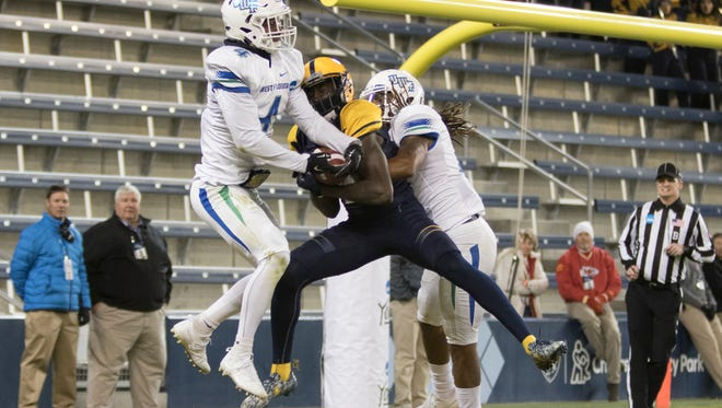 Argos break up a pass in the end zone during the University of West Florida vs Texas A&M - Commerce NCAA Division II National Championship football game at Children's Mercy Park in Kansas City, Kansas on Saturday, December 16, 2017.