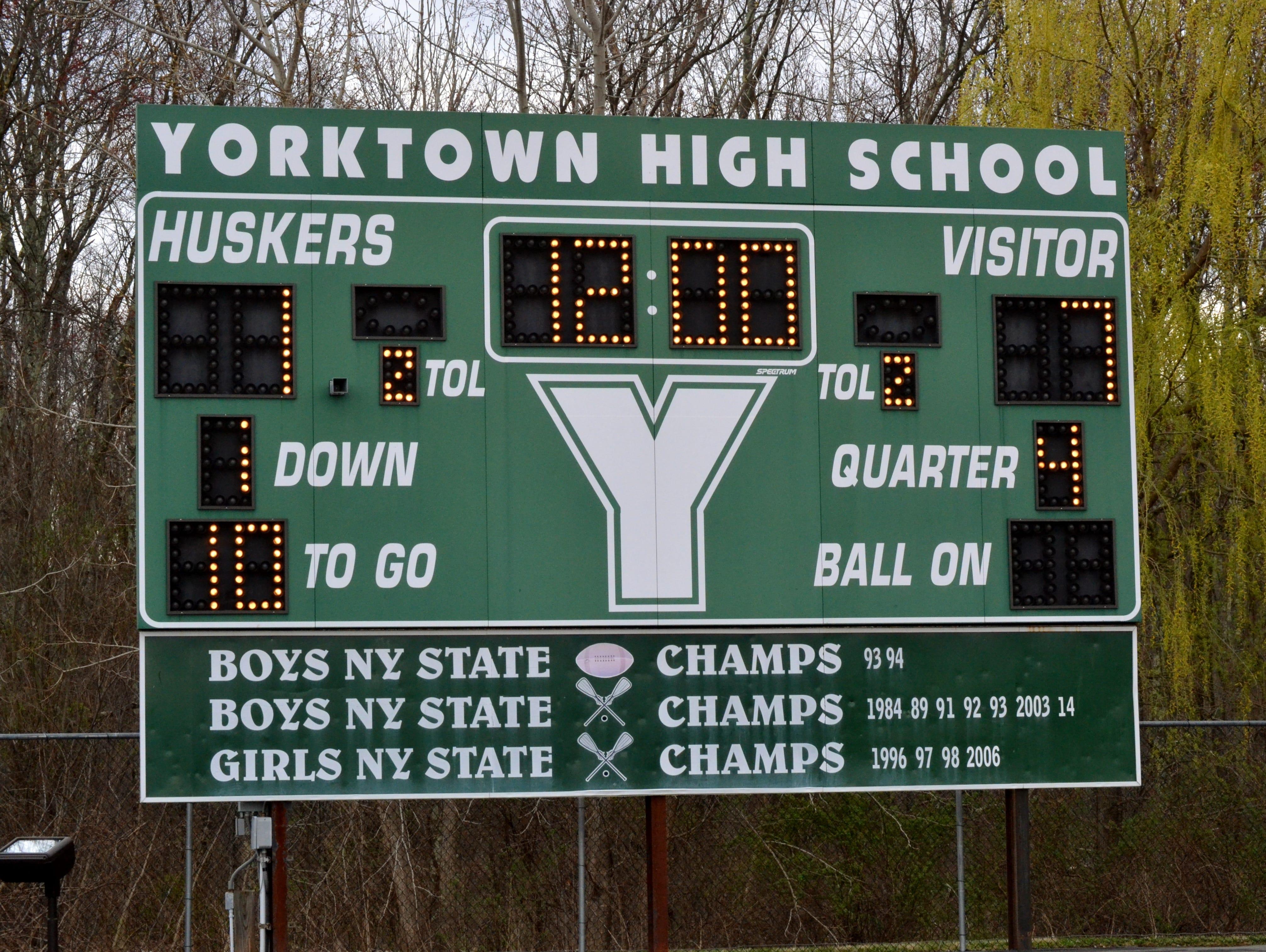 Scoreboard at Yorktown High School.