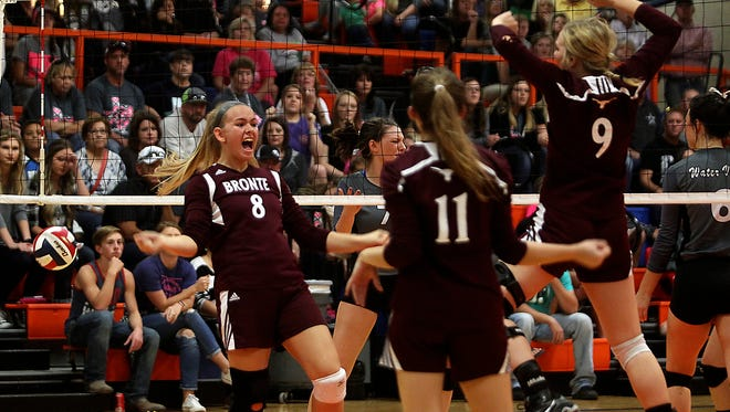 The Bronte High School volleyball team celebrates a point in its regional final win over Water Valley on Saturday. The Lady Longhorns advanced to their 11th state tournament, where they'll open against Round Top-Carmine on Wednesday.