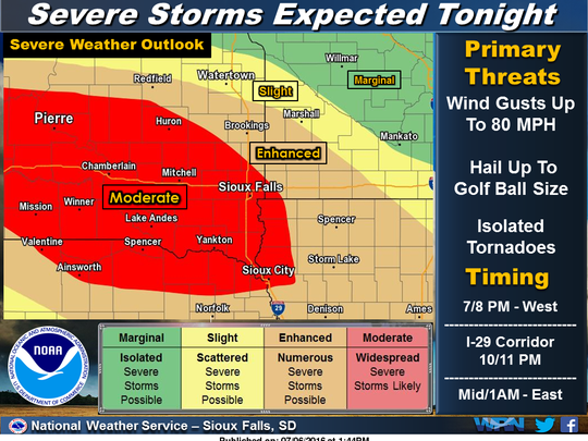 Severe storms are expected Wednesday night.
