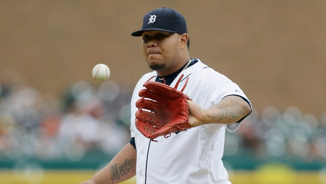 Detroit Tigers relief pitcher Bruce Rondon waits on a new ball against the Los Angeles Angels on Aug. 27, 2015, in Detroit.