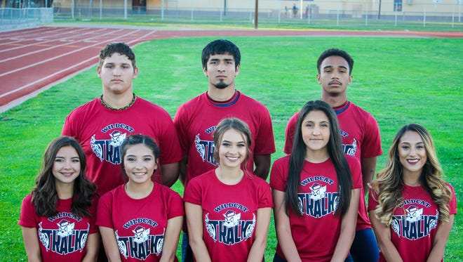 The Deming High School track and field state qualifiers are (in no order) Yasmin Chaparro, Mercedes Perez, Ashlee Carlos, Gabby Perez, Bryssa Nieto, Vanessa Garcia, Cesar Chavez and Alex Sotelo. Not pictured are James Carroll Jr. Krista Jimenez and coaches Trini Garcia II, Frank Knoop, Kurt Zimmerman, Jessica Baeza, Kris Seats and Adam Perrault.