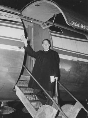 Wisconsin State University-Stevens Point (now UW-Stevens Point) President James Albertson in 1967 as he departs for the Republic of Vietnam as part of an Agency for International Development educational research mission.